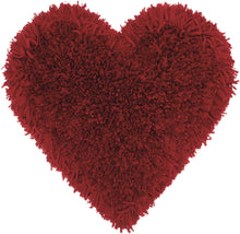 "Load image into Gallery viewer, Mina Victory Frame Heart Deep Red Shag Throw Pillow TL001 18"" x 18"""