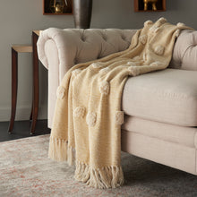 Load image into Gallery viewer, Mina Victory Dot Woven Throw Mustard Throw Blanket SH019 50X60