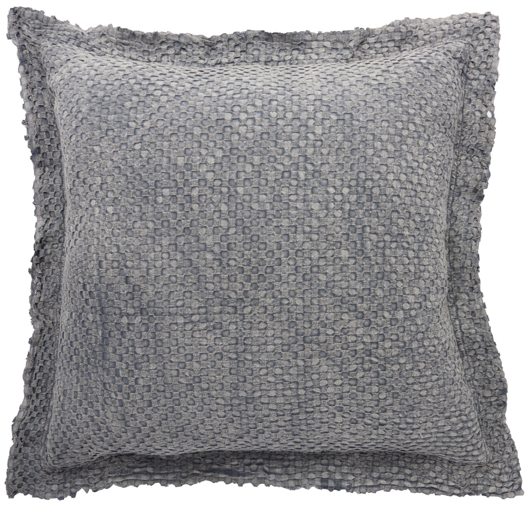 Mina Victory Life Styles Waffle Stonewash Grey Throw Pillow BX056 1'10