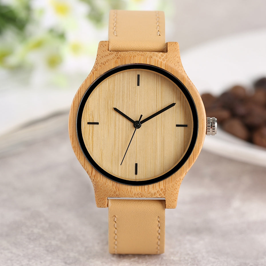 quartz womens soft wood watches amazon women strap bamboo com watch s dp leather tamlee