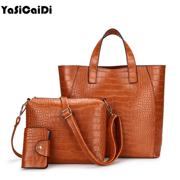 Crocodile pattern PU Leather Women Shoulder Bags 3 pieces