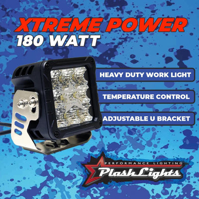XTREME POWER CUBE LIGHT - 180W - HEAVY DUTY WORK LIGHT - TEMPERATURE CONTROL - ADJUSTABLE U BRACKET PLASHLIGHTS