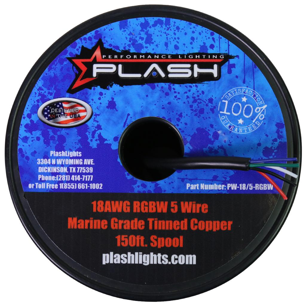 PlashLights 18AWG RGBW 5 Wire Marine Grade Tinned Copper 150ft. Spool