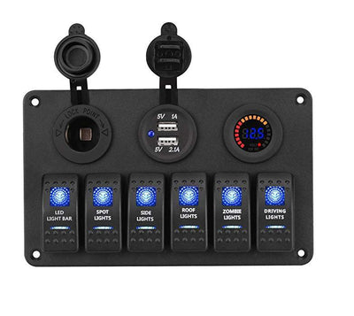 6 Switch Panel with Voltmeter & Dual USB Charger
