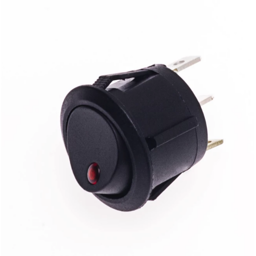 Round Rocker Switch - Illuminates Red