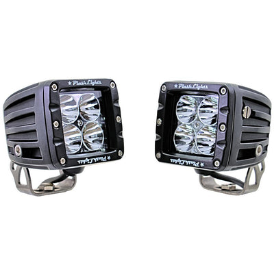 Pair of dependable work lights - extreme distance - spot - stainless steel - marine - quality led cubes