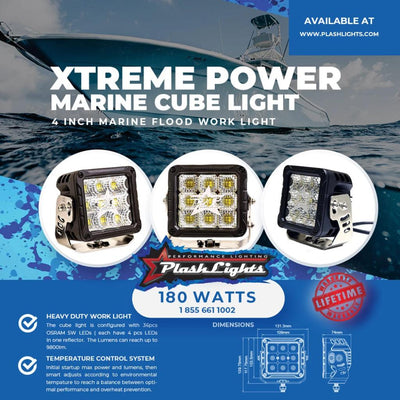 XTREME POWER CUBE LIGHT - 180W - MARINE CUBE LIGHT - 4 INCH MARINE FLOOD WORK LIGHT - HEAVY DUTY WORK LIGHT - TEMPERATURE CONTROL SYSTEM