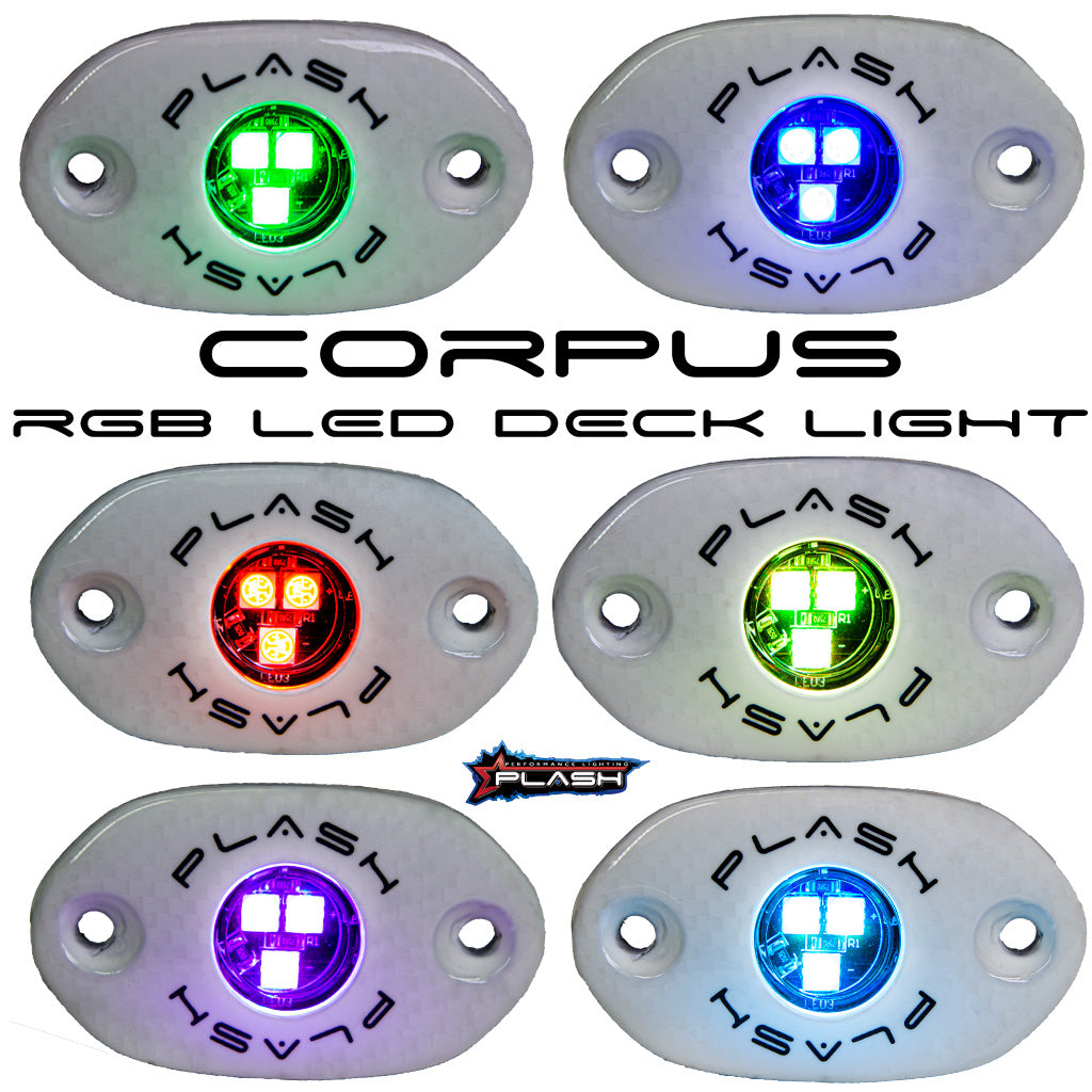 Boat RGB Carbon Fiber LED Deck Light - White Housing