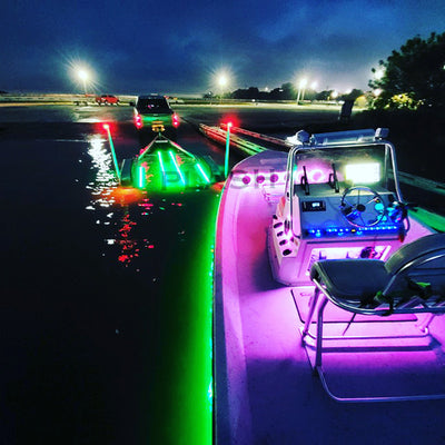 12V RGB Color Changing Waterproof Flexible Light Strips on Boat