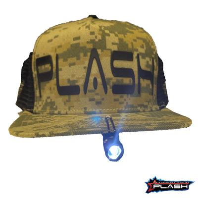 PlashLights MultiFunctional Tactical Pen Clipped on Hat Flashlight On