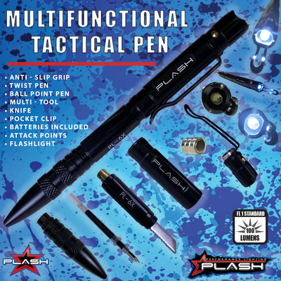 PlashLights MultiFunctional Tactical Pen Anti-Slip Grip Twist Pen Ball Point Pen Multi-Tool Knife Pocket Clip Batteries Included Attack Points Flashlight
