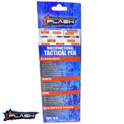 PlashLights MultiFunctional Tactical Pen Backside of Package showing Chart