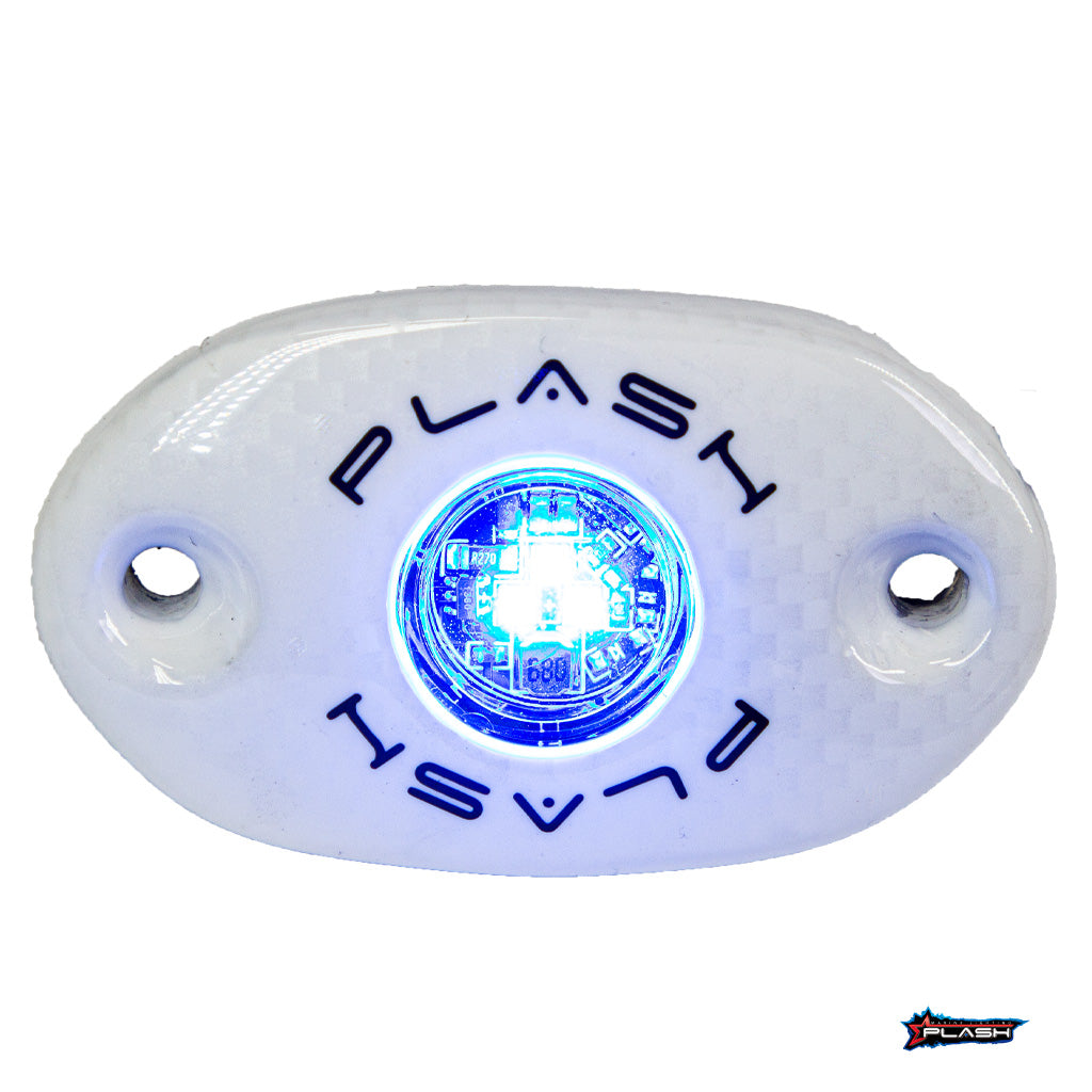 CORPUS - Blue Carbon Fiber LED Deck Light - White Housing