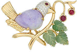 Multi-Stone, Diamond, Gold Brooch