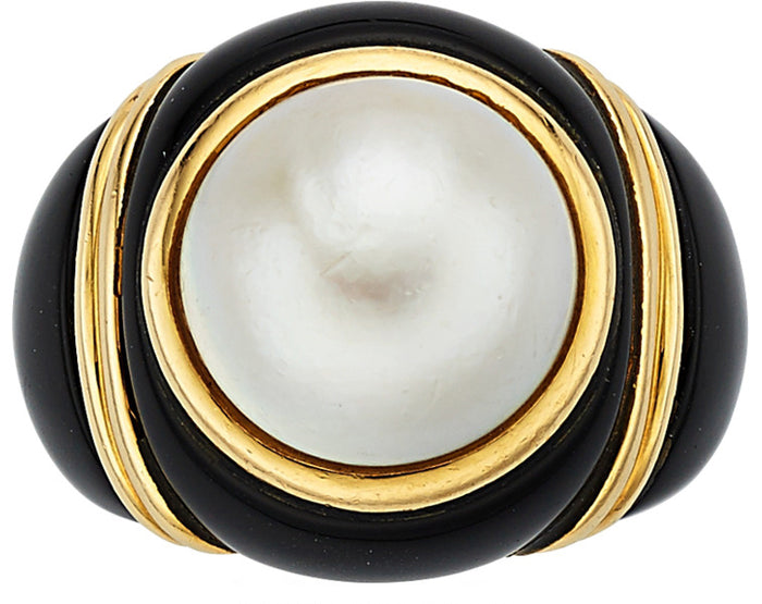 Black Onyx, Mabe Pearl, Gold Ring