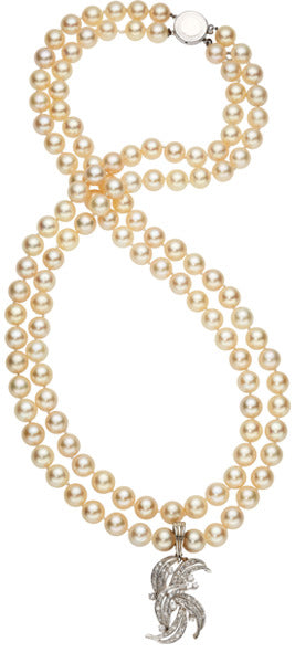 Cultured Pearl, Diamond, White Gold Necklace