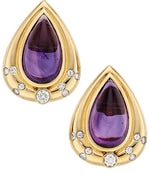 Amethyst, Diamond, Gold Earrings