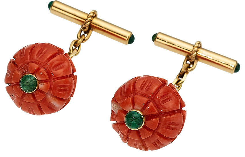 Coral, Emerald, Gold Cuff Links, French