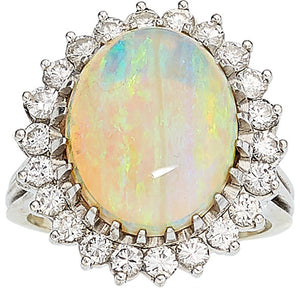 Opal, Diamond, White Gold Ring