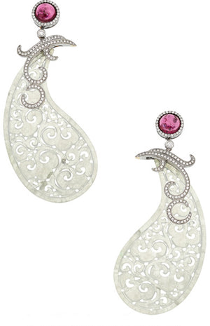 Pink Tourmaline, Diamond, Jadeite Jade, White Gold Earrings