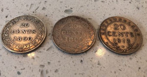Lot of 3 20 Cents Newfoundland Sterling Silver Coins 1890, 1899, 1912