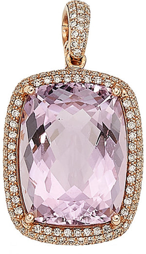 Kunzite, Diamond, Rose Gold Pendant