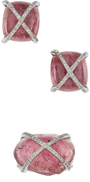 Pink Tourmaline, Diamond, White Gold Jewelry Suite
