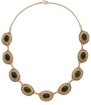 Nephrite Jade, Seed Pearl, Gold Necklace