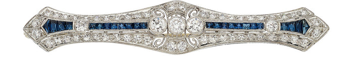 Art Deco Diamond, Synthetic Sapphire, Platinum, Gold Brooch