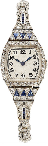 Art Deco Swiss Lady's Diamond, Synthetic Sapphire, Platinum Watch