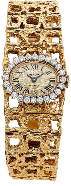 Geneva Lady's Diamond, Gold Watch