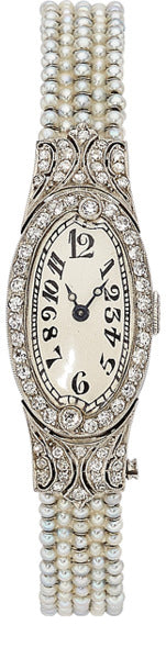 Art Deco Swiss Lady's Diamond, Seed Pearl, Platinum Watch