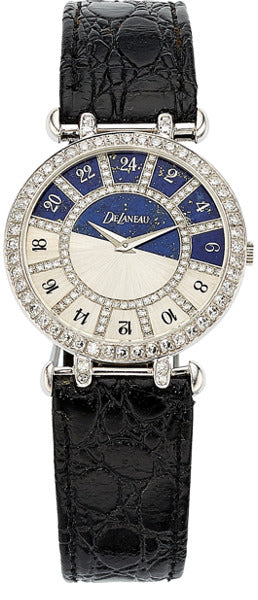 DeLaneau Lady's Diamond, Lapis Lazuli, White Gold Watch