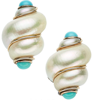 Shell, Turquoise, Gold Earrings, MAZ