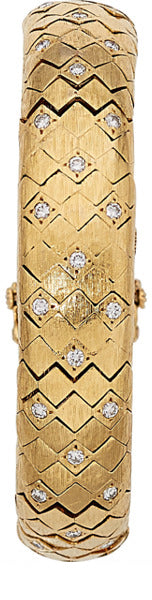 Swiss Lady's Diamond, Gold Covered Dial Watch