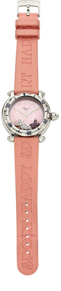 Chopard Lady's Diamond, Pink Sapphire, Stainless Steel, Rubber Strap Happy Sport Watch