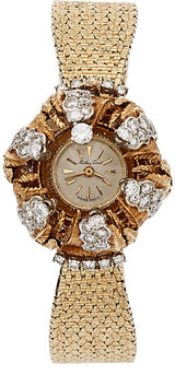 Mathey Tissot Lady's Diamond, Gold Covered Dial Watch