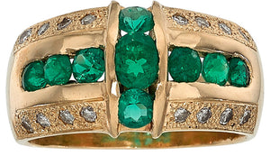 Gentleman's Emerald, Diamond, Gold Ring