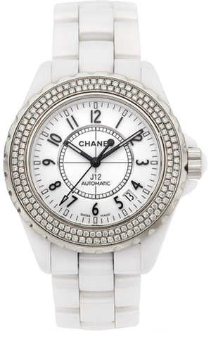 Chanel Lady's Ceramic Double Diamond Bezel J12 Watch