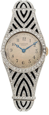 Art Deco Swiss Lady's Diamond, Platinum-Topped Gold Watch