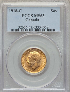 Canada: George V gold Sovereign 1918-C MS63 PCGS