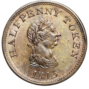 Canada: Nova Scotia. Payable by John Alexr. Barry. copper Halfpenny Token 1815