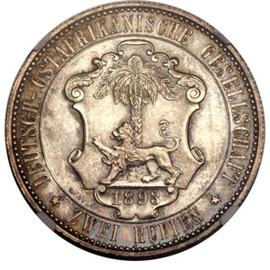 German East Africa: German Colony - Wilhelm II 2 Rupien 1893 MS64 NGC