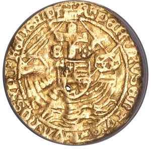 Great Britain: Richard III (1483-85) gold Angel ND VF Details (Holed) NCS