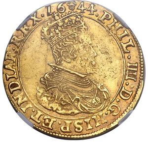Spanish Netherlands: Philip IV gold 2 Souverain d'Or 1644 Brussels