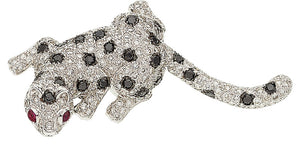 Diamond, Colored Diamond, White Gold Brooch