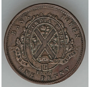 Canada: Lower Canada Penny Bank Token 1837