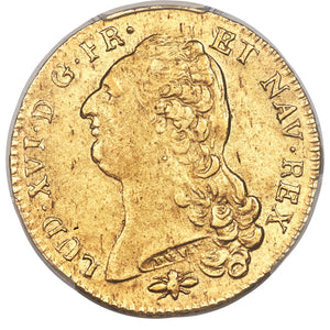 France: Louis XVI gold 2 Louis d'or 1786-D AU58 PCGS