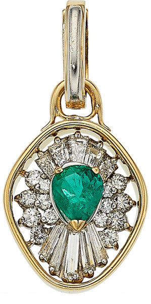 Emerald, Diamond, Gold Pendant