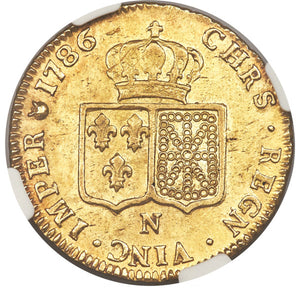 France: Louis XVI gold 2 Louis d'or 1786-N AU55 NGC